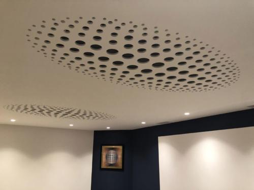 Salle de sport plafond perforé